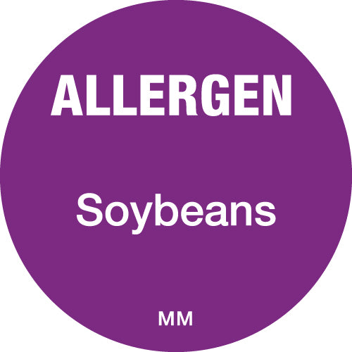 25mm Circle Purple Allergen Soybeans Label - GM Packaging (UK) Ltd