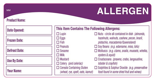 Allergen Storage Shelf Life Label - GM Packaging (UK) Ltd