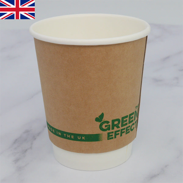 12oz KRAFT PLASTIC FREE Compostable Coffee Cups - GM Packaging (UK) Ltd