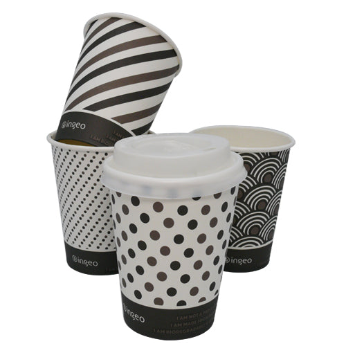 12oz Compostable Mixed Designed Bamboo Cups - GM Packaging (UK) Ltd