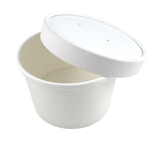 12oz White Paper Squat Soup Cups with Lids - GM Packaging (UK) Ltd
