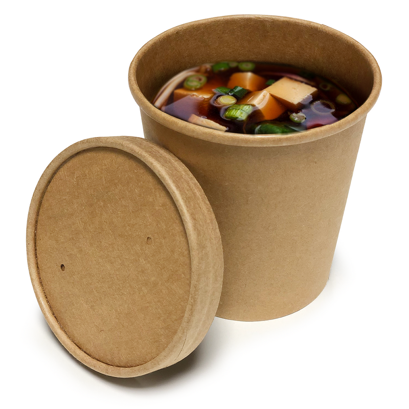 16oz Brown Kraft Soup Cups with Lids - GM Packaging (UK) Ltd