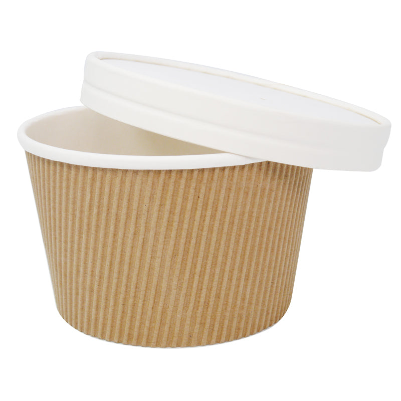 16oz Kraft Ripple Soup Containers with Lids - GM Packaging (UK) Ltd