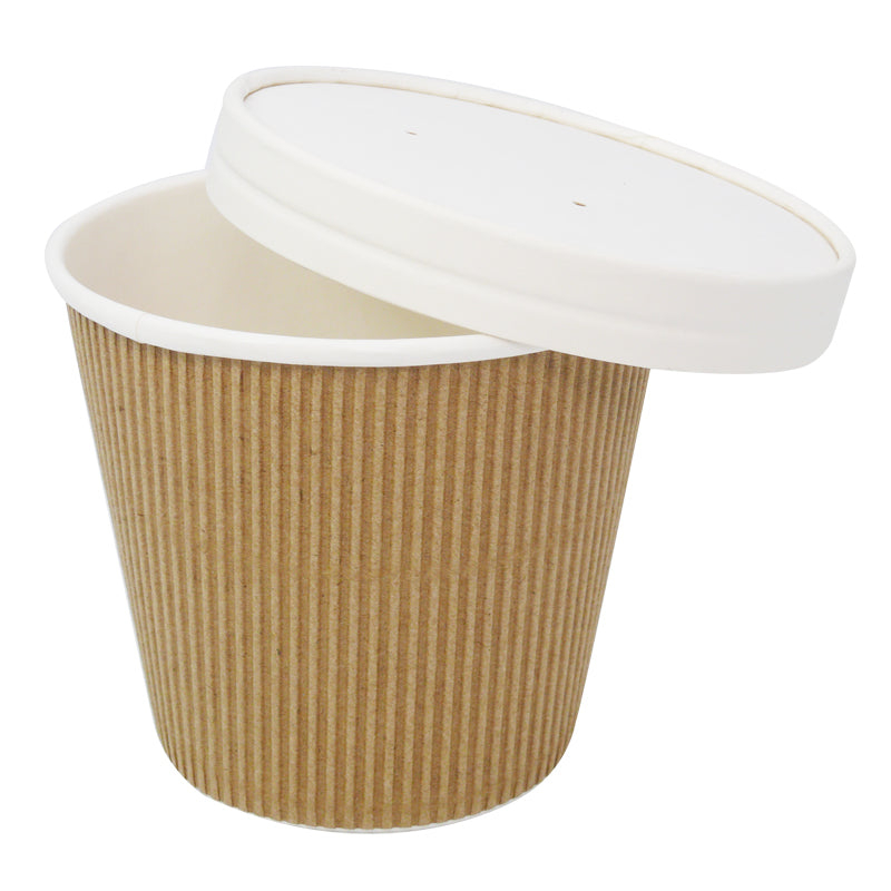 19oz Kraft Ripple Soup Containers with Lids - GM Packaging (UK) Ltd