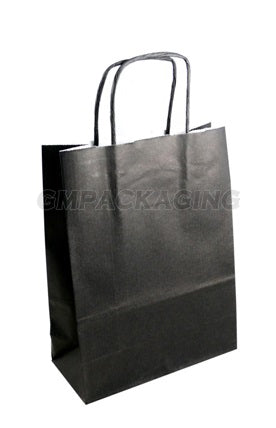 Small Black Paper Carrier Bags With Twisted Handles Gm Packaging