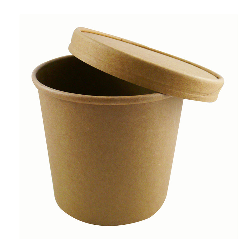 26oz Kraft Soup Cups with Lids - GM Packaging (UK) Ltd