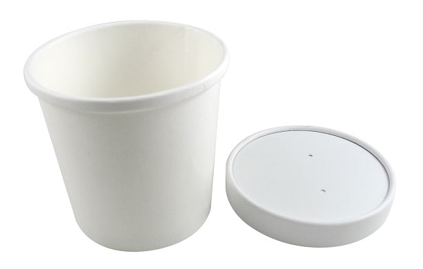 26oz White Paper Soup Containers with Lids - GM Packaging (UK) Ltd