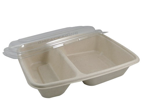 2 Compartments Rectangular Compostable Containers - GM Packaging (UK) Ltd