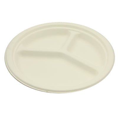 3 Compartments Round Sugarcane Plates - GM Packaging (UK) Ltd