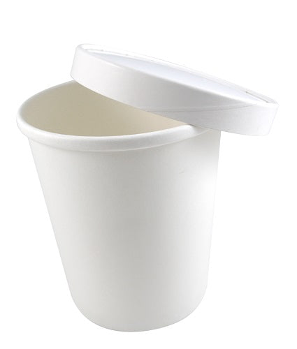 32oz White Paper Soup Containers with Lids - GM Packaging (UK) Ltd