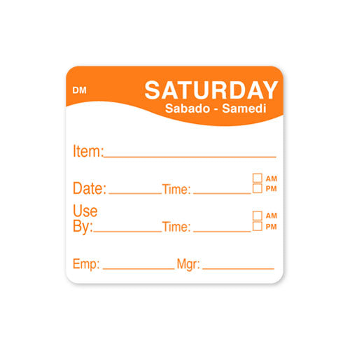 51x 51mm Saturday - Shelf Life Labels - GM Packaging (UK) Ltd