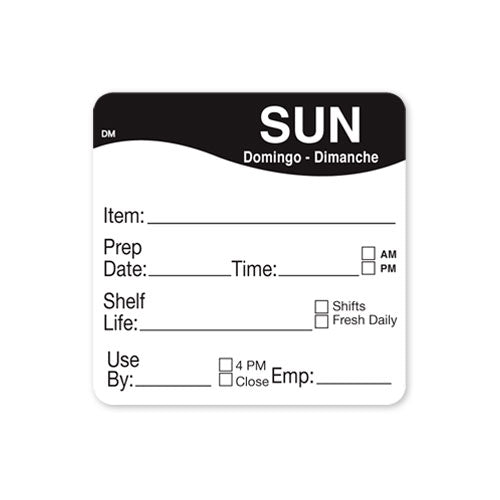 51x 51mm Sunday - Shelf Life Labels - GM Packaging UK Ltd
