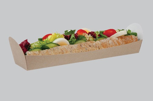 Kraft Cardboard Open Baguette Tray - GM Packaging (UK) Ltd