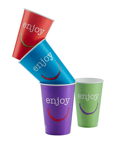 12oz Enjoy Paper Cold Cups with Lids/2000