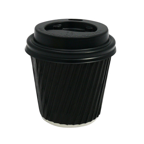 4oz Black Ripple Coffee Cups - GM Packaging (UK) Ltd