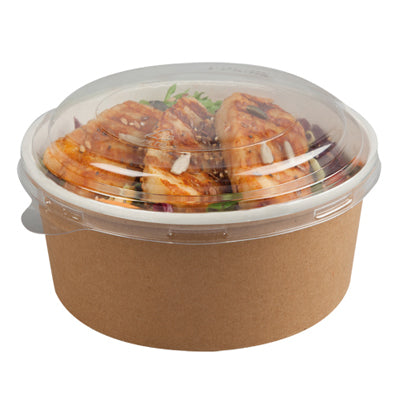 550cc Printed Kraft Effect Bowls with Lids - GM Packaging (UK) Ltd