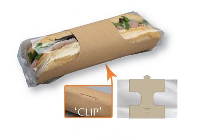 Kraft baguette sleeves with Clear Film