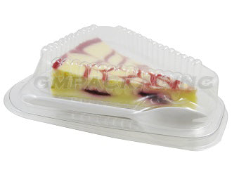 Cheesecake Slice Container with spork - GM Packaging (UK) Ltd