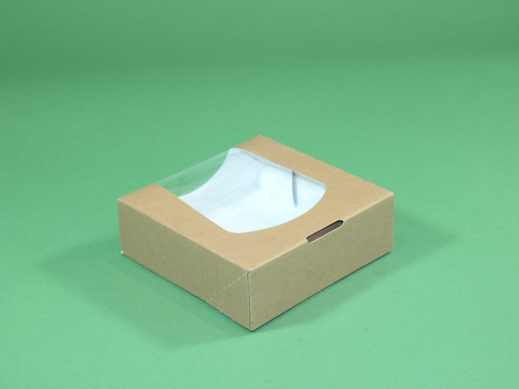 "4.7"" Square Kraft Cake Full Window Box - GM Packaging (UK) Ltd"