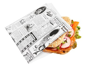 16x16.5cm Newsprint Greaseproof 2 sides open Bags - GM Packaging (UK) Ltd