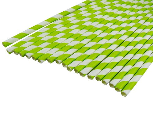6mm White and Green Striped Paper Straw - GM Packaging (UK) Ltd