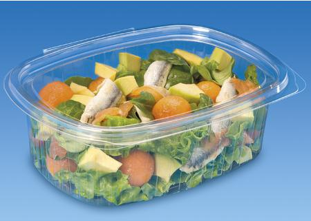 500cc Oval Standipack PET Hinged Salad Container - GM Packaging (UK) Ltd