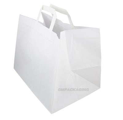 Medium White Patisserie Carrier Bags with Flat Handles - GM Packaging (UK) Ltd