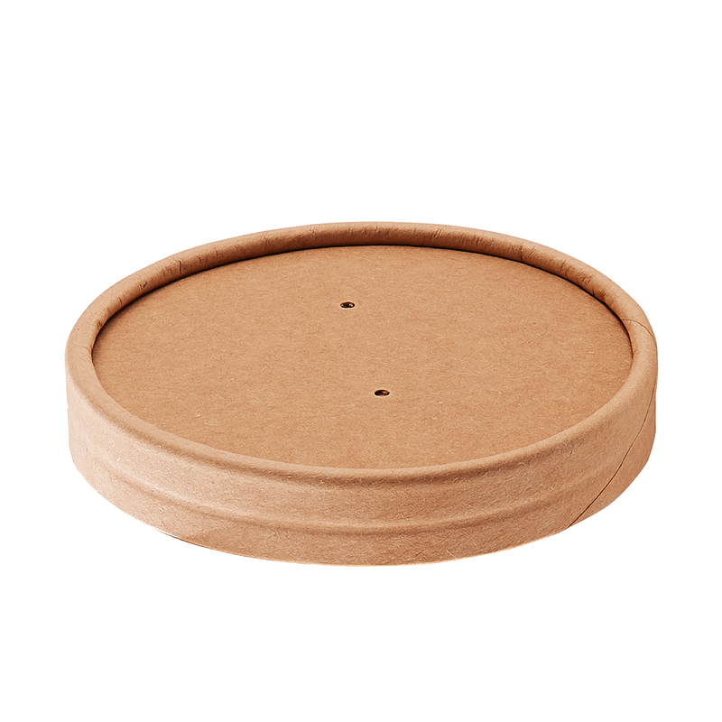 8-12oz Kraft Vented Paper Lid - GM Packaging (UK) Ltd