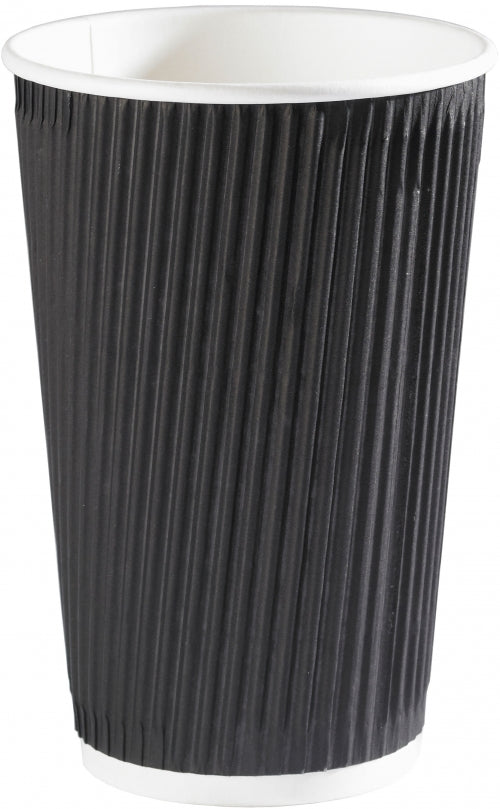 16oz Black Ripple Cups - GM Packaging (UK) Ltd