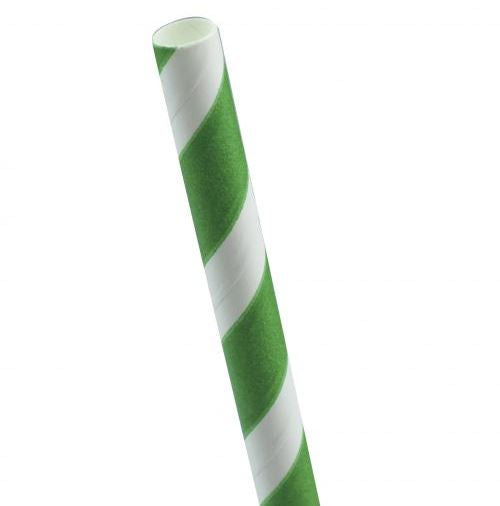 8mm White and Green Striped Paper Straw - GM Packaging (UK) Ltd