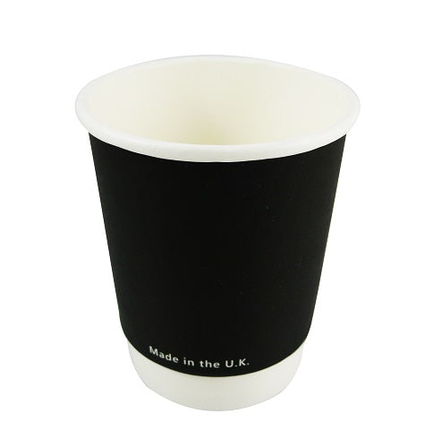 8oz black compostable coffee cups - GM Packaging UK Ltd