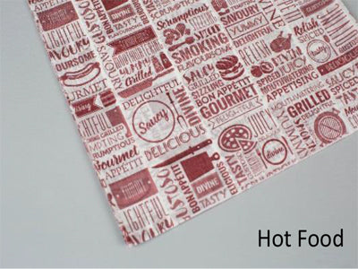 297x210mm Greaseproof Paper Hot Food-Red - GM Packaging (UK) Ltd