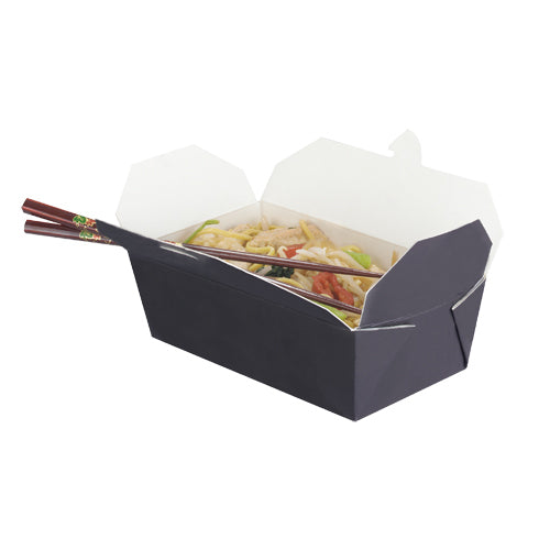 985ml Black & White Cardboard Food Box