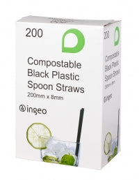 8mm Black Compostable Spoon Straws - GM Packaging UK Ltd