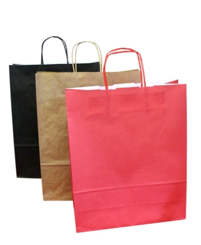 Small Red Paper Carrier bags with twisted handles - GM Packaging (UK) Ltd