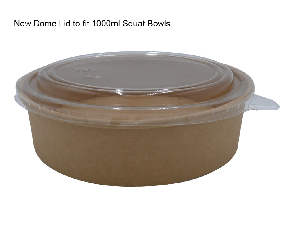 Dome lid to fit 1000ml squat bowls - GM Packaging UK Ltd