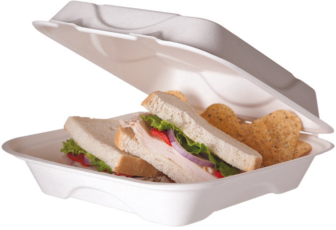 Large Bagasse Clamshell Containers - GM Packaging (UK) Ltd