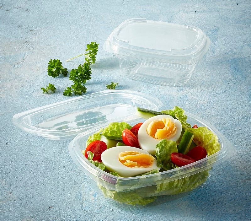 250cc ' FRESCO' Hinged Oval Salad Container - GM Packaging (UK) Ltd