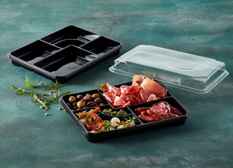 Black rPET BENTO trays - GM Packaging (UK) Ltd