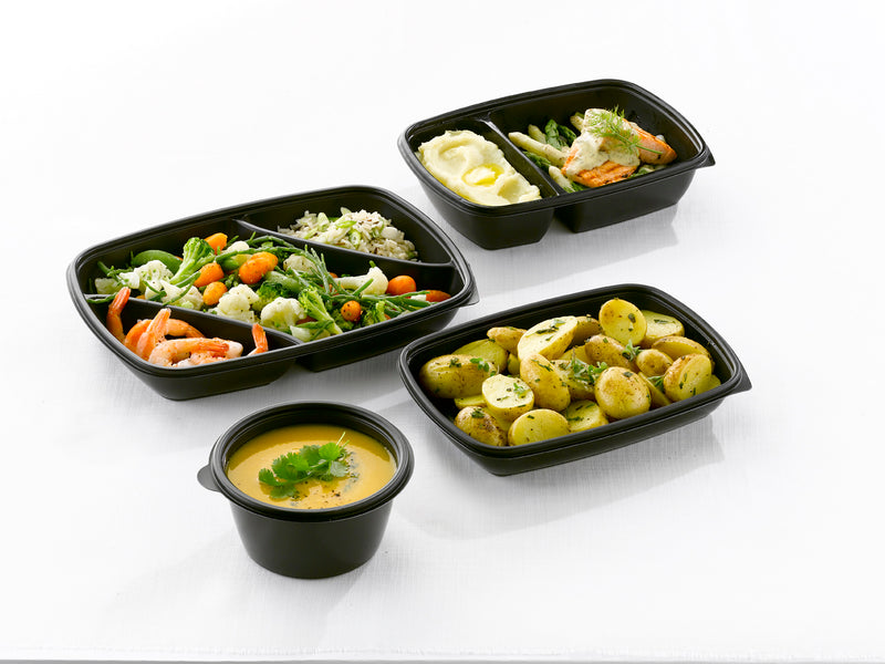 600ml Rectangular Black Microwave Containers - GM Packaging (UK) Ltd