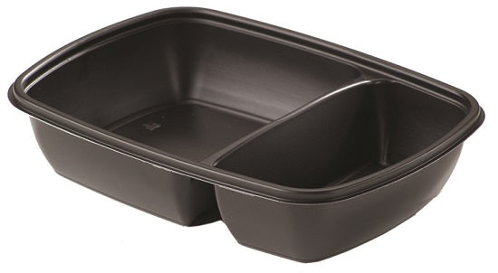 600/300ml 2 Compartment Black Microwave Containers - GM Packaging (UK) Ltd