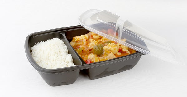 600/300ml 2 compartment microwave containers - GM Packaging