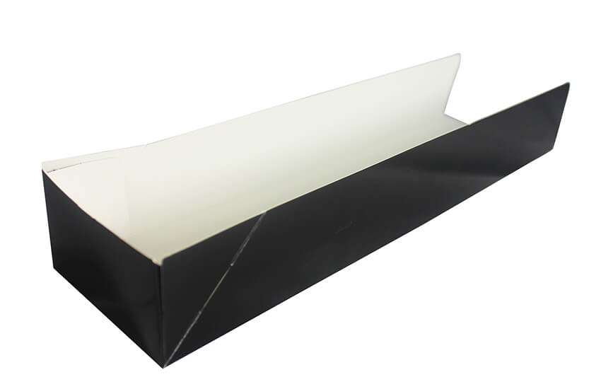 Black Cardboard Hot Dog Tray - GM Packaging (UK) Ltd