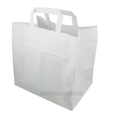 Large White Patisserie Carrier Bags (Flat Handles) - GM Packaging (UK) Ltd