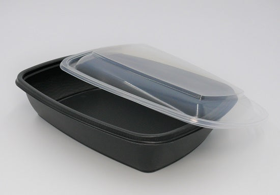 900ml Rectangular Black Microwave Containers - GM Packaging (UK) Ltd