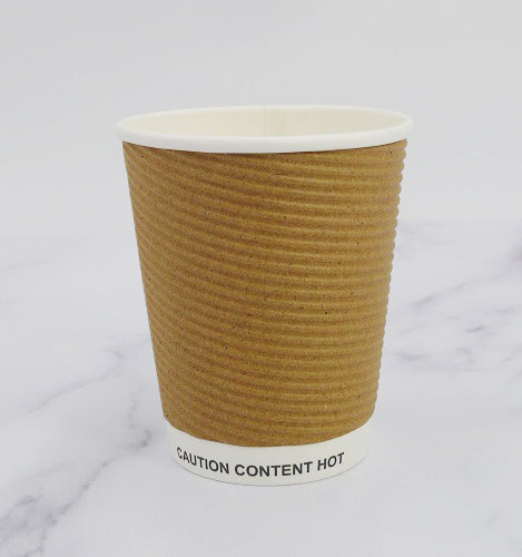 Limited Time Offer 500 X 8oz Cups Disposable Coffee Cups Kraft Cups Tripple Walled Ripple Cups