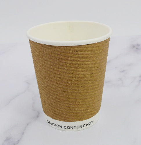 Kraft Ripple Disposable Paper Coffee Cups 12oz 340ml (Case of 500)