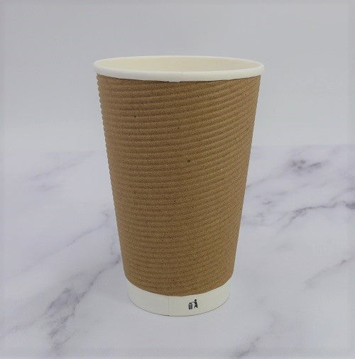 16oz Brown Ripple Coffee Cups - GM Packaging (UK) Ltd