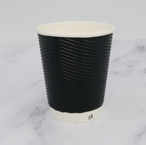 8oz Black Ripple Coffee Cups - GM Packaging (UK) Ltd