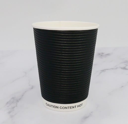 12oz Black Ripple Cups - GM Packaging (UK) Ltd
